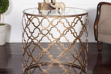 CTH Sherrill bronze and glass side table
