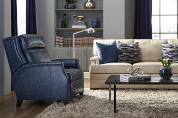 huntington house blue leather recliner