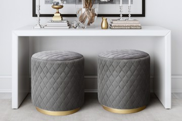 TOV grey and bronze ottomans