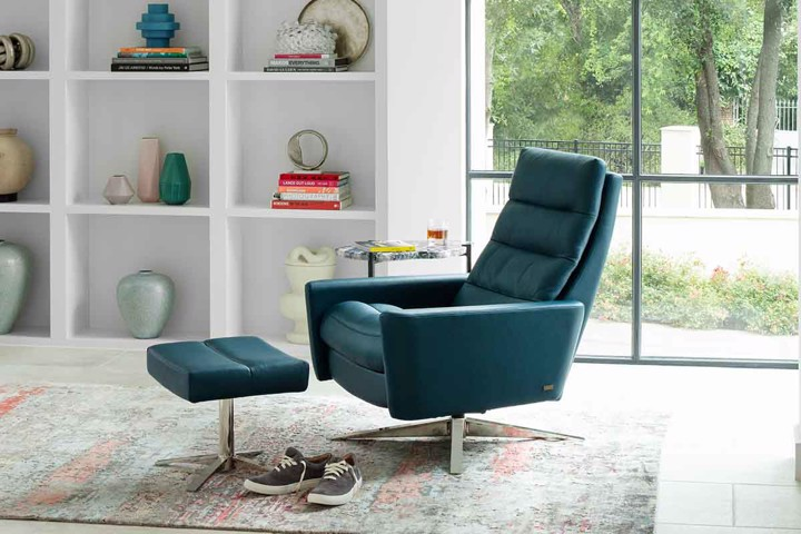 green leather recliner with ottoman