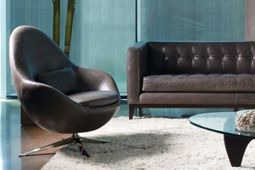 modern leather swivel chair with leather sofa