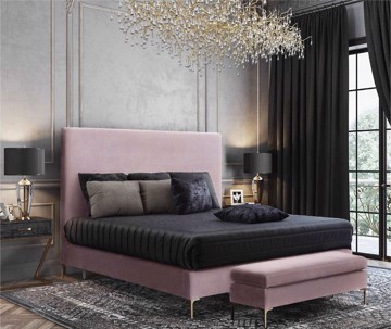 Luxurious purple velvet Platform Bed