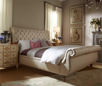 Tufted, Upholstered Sleigh Bed