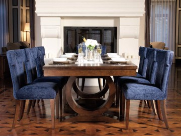 Wooden contemporary base dining table with blue upholstered dining chairs