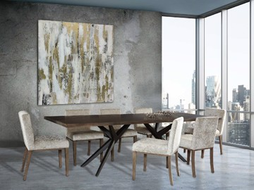 Wooden rectangular x frame dining table with upholstered dining chairs