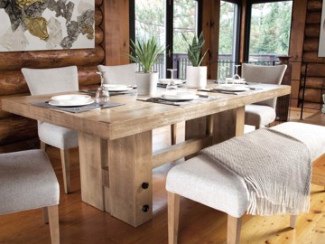Wooden rustic frame rectangular dining table with ivory upholstered dining chairs and upholstered bench