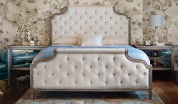 Ivory tufted upholstered bed with mirror finished nightstands