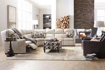white leather sectional and chair
