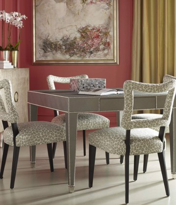 Rectangular dining table with modern upholstered print dining chairs