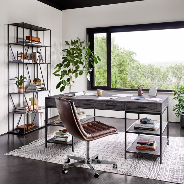 leather tufted desk chair and industrial desk and bookcase