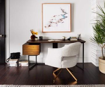 Contemporary white plush desk chair