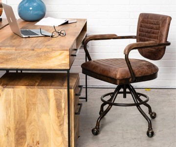 industrial desk chair with wooden desk