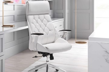 Tufted white ergonomic desk chair