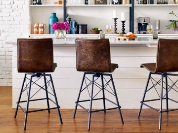Brown leather dining stools