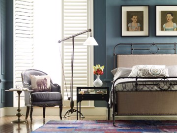 Metal Frame bed with upholstered arm chair and nightstand
