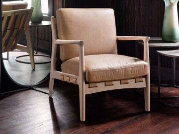 Beige leather arm chair