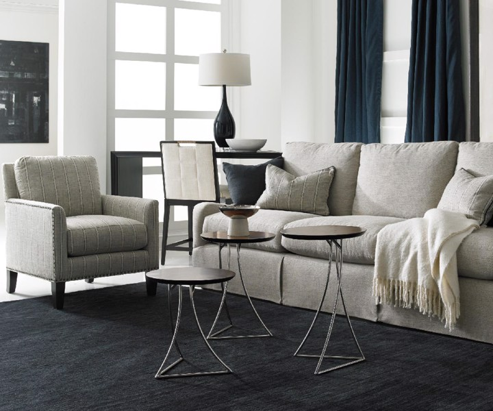 Hickory White grey arm chair with upholstered sofa and three modern end tables