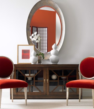 White and Red upholstered chairs with wood and glass console