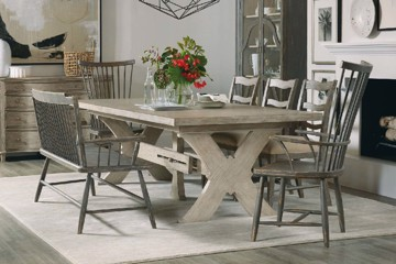 Natural wooden x frame dining table with stretcher and grey wooden dining chairs