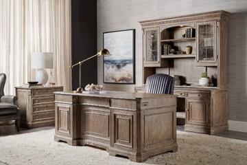 Medium wooden executive desk with credenza and hutch