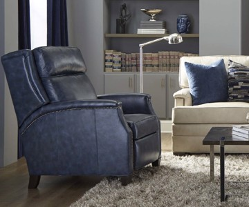 Navy blue leather motion chair with nail head trim