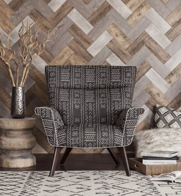 Dark grey upholstered print modern arm chair with wooden end table