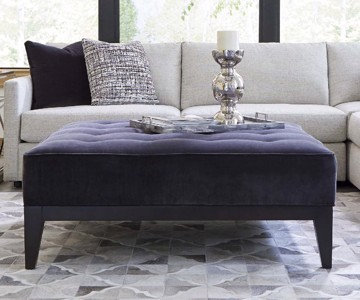 Navy blue tufted upholstered square ottoman with white sectional
