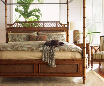 Inlaid wooden four poster bed