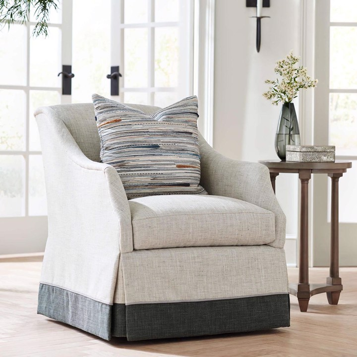 Wesley Hall transitional skirted armchair