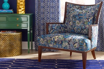 contemporary blue patterned armchair