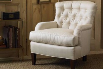 white tufted cottage chair