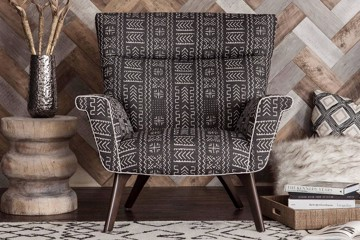 modern armchair with geometric print