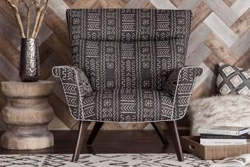 modern armchair with geometric print
