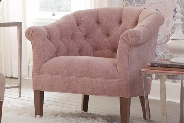 pink traditional tufted barrel chair