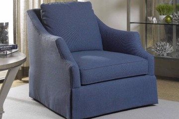 simple blue transitional armchair