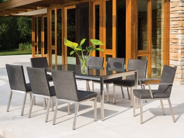 Outdoor dining chairs and dining table