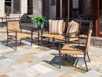Metal and woven outdoor chairs with loveseat