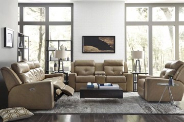 Tan tufted leather motion loveseat with tan leather sofa and chair