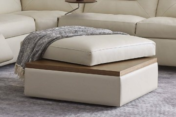 Cream leather and wood ottoman