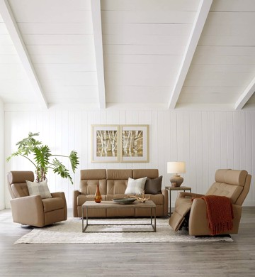 Tan leather sofa with recliners