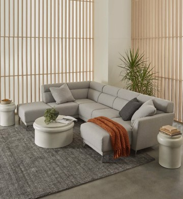 Grey leather sectional with chaise