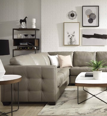 Beige leather tufted sectional