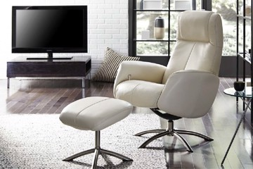 Ivory leather chair with ivory leather ottoman
