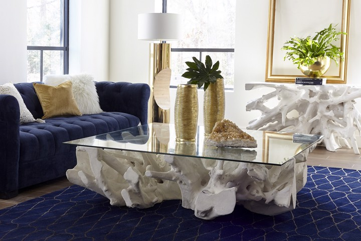 Cast Teak Root Coffee Table and Console Whitestone