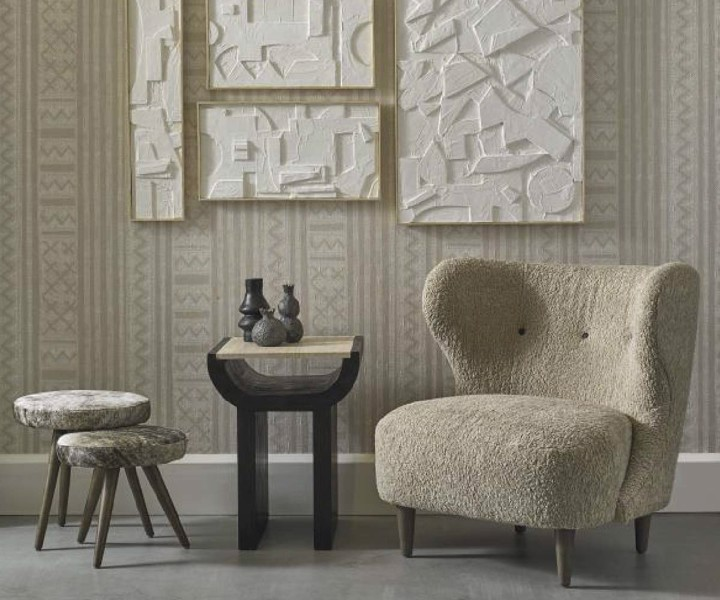 Lemieux Et Cie beige arm chair with side table and stools