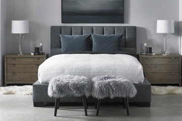 Precedent charcoal upholstered headboard with ottomans