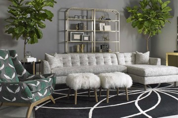 precedent Vintage made Modern tufted sectional with upholstered print arm chair and ottomans