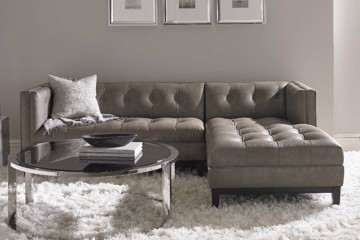 Precedent Portfolio collection upholstered tufted sectional with chaise