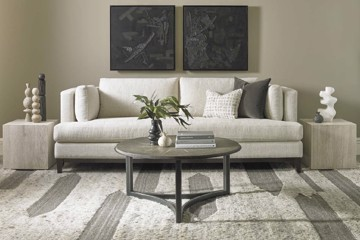 Precedent cream sofa with end tables and cocktail table
