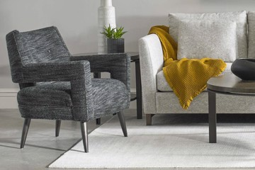precedent charcoal upholstered arm chair